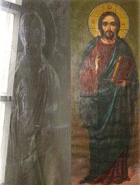 Отпечаток на стекле иконы Спасителя