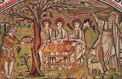 Трійця Старозавітна. 546-547 рр. Мозаїка церкви Сан-Віталє у Равенні